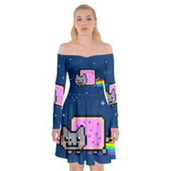 Nyan Cat Off Shoulder Skater Dress by Onesevenart