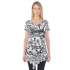 Panic! At The Disco Lyric Quotes Short Sleeve Tunic  by Onesevenart