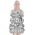 Panic! At The Disco Lyric Quotes Velvet Long Sleeve Shoulder Cutout Dress