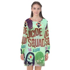 Panic! At The Disco Suicide Squad The Album Long Sleeve Chiffon Shift Dress  by Onesevenart