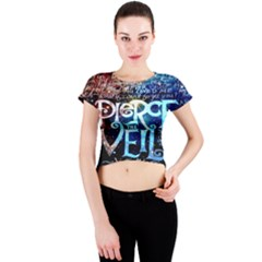 Pierce The Veil Quote Galaxy Nebula Crew Neck Crop Top by Onesevenart