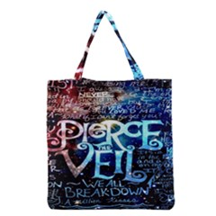 Pierce The Veil Quote Galaxy Nebula Grocery Tote Bag by Onesevenart
