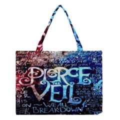 Pierce The Veil Quote Galaxy Nebula Medium Tote Bag by Onesevenart
