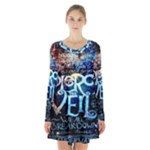 Pierce The Veil Quote Galaxy Nebula Long Sleeve Velvet V-neck Dress