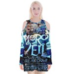 Pierce The Veil Quote Galaxy Nebula Velvet Long Sleeve Shoulder Cutout Dress