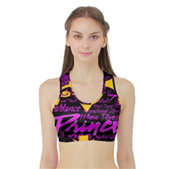 Prince Poster Sports Bra With Border by Onesevenart