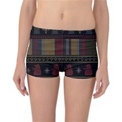 Tardis Doctor Who Ugly Holiday Reversible Bikini Bottoms by Onesevenart