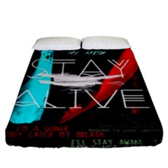 Twenty One Pilots Stay Alive Song Lyrics Quotes Fitted Sheet (king Size) by Onesevenart