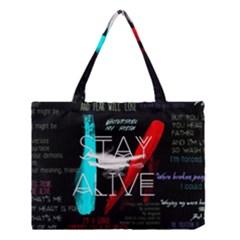 Twenty One Pilots Stay Alive Song Lyrics Quotes Medium Tote Bag by Onesevenart