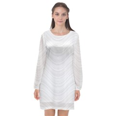 Abstraction Long Sleeve Chiffon Shift Dress