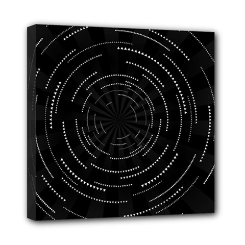 Abstract Black White Geometric Arcs Triangles Wicker Structural Texture Hole Circle Mini Canvas 8  X 8  by Mariart