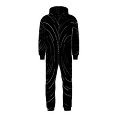 Abstract Black White Geometric Arcs Triangles Wicker Structural Texture Hole Circle Hooded Jumpsuit (Kids) by Mariart