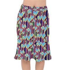 Building City Plaid Chevron Wave Blue Green Mermaid Skirt