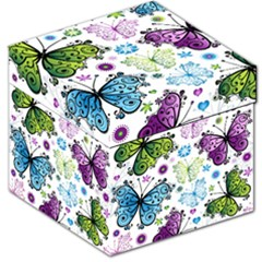 Butterfly Animals Fly Purple Green Blue Polkadot Flower Floral Star Storage Stool 12   by Mariart
