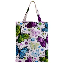 Butterfly Animals Fly Purple Green Blue Polkadot Flower Floral Star Zipper Classic Tote Bag by Mariart