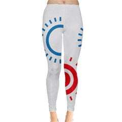 Color Light Effect Control Mode Circle Red Blue Leggings  by Mariart