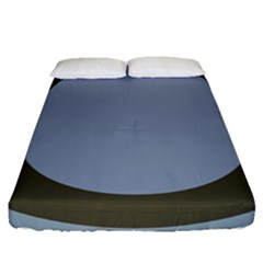Circle Round Grey Blue Fitted Sheet (queen Size) by Mariart