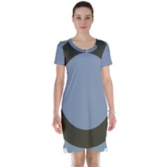 Circle Round Grey Blue Short Sleeve Nightdress by Mariart