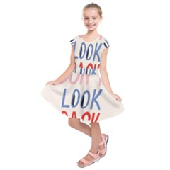 Don t Look Back Big Eye Pink Red Blue Sexy Kids  Short Sleeve Dress by Mariart