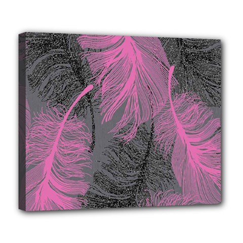 Feathers Quill Pink Grey Deluxe Canvas 24  X 20   by Mariart