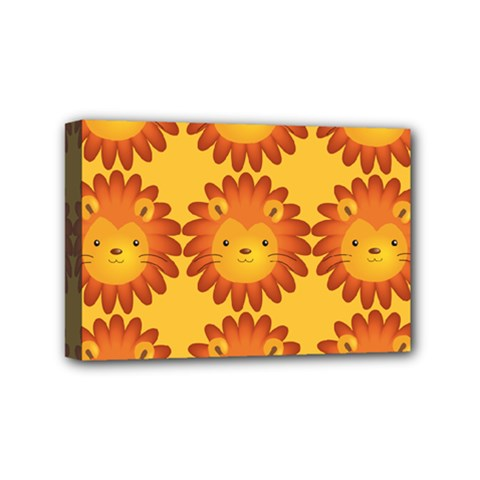 Cute Lion Face Orange Yellow Animals Mini Canvas 6  X 4  by Mariart