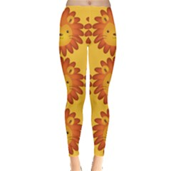 Cute Lion Face Orange Yellow Animals Leggings  by Mariart