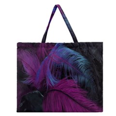 Feathers Quill Pink Black Blue Zipper Large Tote Bag by Mariart