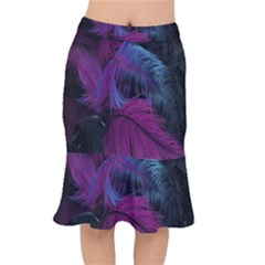 Feathers Quill Pink Black Blue Mermaid Skirt by Mariart
