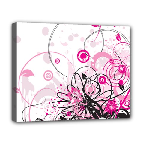 Wreaths Frame Flower Floral Pink Black Deluxe Canvas 20  X 16   by Mariart