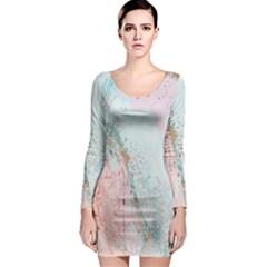 Geode Crystal Pink Blue Long Sleeve Bodycon Dress