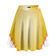 Heart Rhythm Gold Red High Waist Skirt by Mariart