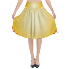 Heart Rhythm Gold Red Flared Midi Skirt by Mariart
