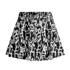 Deskjet Ink Splatter Black Spot Mini Flare Skirt by Mariart