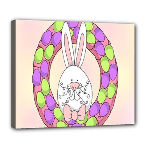 Make An Easter Egg Wreath Rabbit Face Cute Pink White Deluxe Canvas 24  X 20   by Mariart