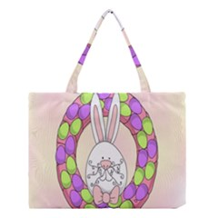 Make An Easter Egg Wreath Rabbit Face Cute Pink White Medium Tote Bag by Mariart