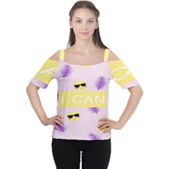 I Can Purple Face Smile Mask Tree Yellow Women s Cutout Shoulder Tee by Mariart