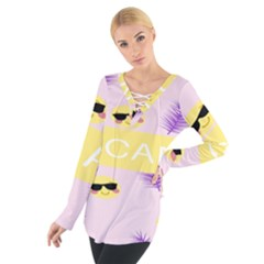 I Can Purple Face Smile Mask Tree Yellow Women s Tie Up Tee by Mariart