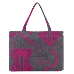 Pink Black Handcuffs Key Iron Love Grey Mask Sexy Medium Zipper Tote Bag by Mariart