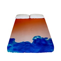 Simulate Weather Fronts Smoke Blue Orange Fitted Sheet (full/ Double Size) by Mariart