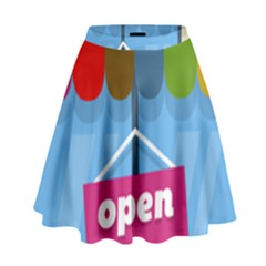 Store Open Color Rainbow Glass Orange Red Blue Brown Green Pink High Waist Skirt by Mariart