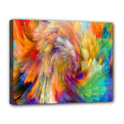 Rainbow Color Splash Canvas 14  X 11  by Mariart