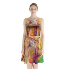 Rainbow Color Splash Sleeveless Waist Tie Chiffon Dress by Mariart