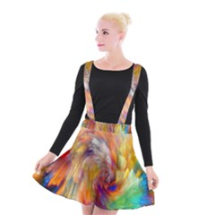 Rainbow Color Splash Suspender Skater Skirt