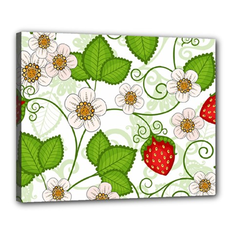 Strawberry Fruit Leaf Flower Floral Star Green Red White Canvas 20  X 16  by Mariart