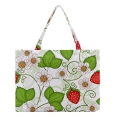 Strawberry Fruit Leaf Flower Floral Star Green Red White Medium Tote Bag by Mariart