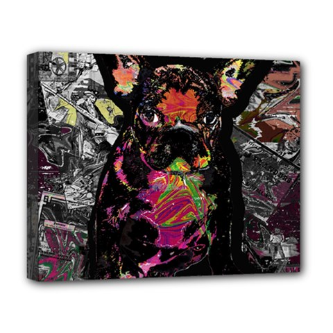 Bulldog Deluxe Canvas 20  X 16   by Valentinaart