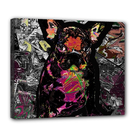 Bulldog Deluxe Canvas 24  X 20   by Valentinaart