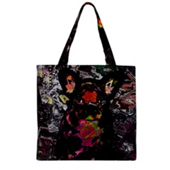 Bulldog Zipper Grocery Tote Bag