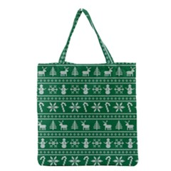 Ugly Christmas Grocery Tote Bag by Onesevenart