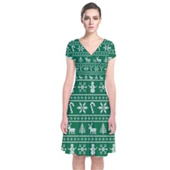 Ugly Christmas Short Sleeve Front Wrap Dress by Onesevenart